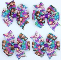 character ribbon - New Arrival frozen Ribbon Bows with hair clip headband headwear hairbow diy decoration