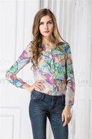 Cheap V-neck Print Floral Thin Chiffon Printed Shirt Full Sleeve Plus Size Slim Fashion Women Blouses Blusas Femininas Shirts Tops