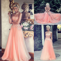 Wholesale 2015 Coral Prom Dresses Sweetheart Neckline Appliques Lace Beading Sheer Floor Length Evening Dresses