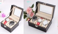 Wholesale Cheap Leather Hand made Couple And Three Watches Storage Boxes Clear Cover Square Boxes