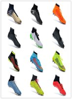 Wholesale 2015 CR7 Gold Soccer Shoes Men Football Cleats Outdoor Black ACC Flyknit Cleats Ronaldo Footwear Ball Sneakers Runs Ankle Net High Tops HI
