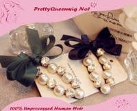 Wholesale New Arrive Pearl Crystal Diamond Women Hair Clip Pink Bow Pearl Diamond Hair Jewelry