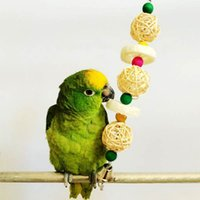 Wholesale Loofah Sponge And Vine Bird Parrot Toy Cage Chewing Biting Climbing Hang Swing Bell Toys