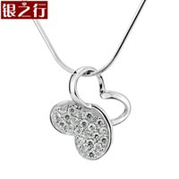 american green group - Silver Line authentic Korean fashion exquisite diamond studded butterfly half face group of female silver jewelry silver pendants