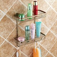 Wholesale Two Layer Bathroom Rack Space Antique bronze Aluminum Towel Washing Shower Basket Bar Shelf bathroom accessories MJ