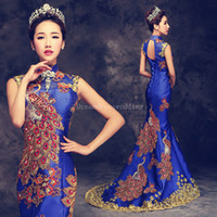 Wholesale Cheongsam Vestido - Dresses Evening Wear Luxury Evening Dresses Cheongsam Embroidery Chinese Traditional Dress Long Mermaid Dress Vestido De Fiesta
