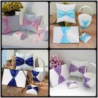 Wholesale Different Ribbon Diamond Wedding Ring Pillow Flower Girl basket Guestbook Pen Set for Wedding Bride Decorations Gifts Favor Set