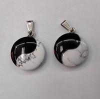 Wholesale tai ji stone pendants tai Chi Yin Yang pendant Jewelry necklace Fashion ying yang pendant free