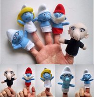 Wholesale THE SMURFS FIGURINES SET Plush Toys Finger Puppets Doll Toys Hand Puppets Animals Learning Aid Finger hand puppets