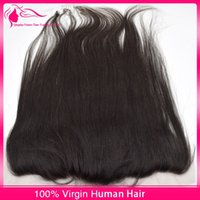 Wholesale Light Yaki Straight Lace Frontal Closure x4 Free Middle Parting Brazilian Virgin Human Hair Lace Frontal Bleached Knots with Baby Hair