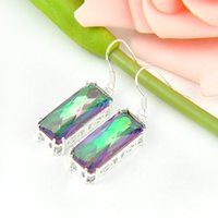 Wholesale Gift for Mother Pairs Crystal Fire Rainbow Mystic Topaz Gems sterling Silver Drop Earrings UK American Wedding Earrings