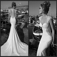 Cheap Gorgeous 2015 Galia Lahav Wedding Dresses Sexy Mermaid Sweetheart Cap Sleeve Sheer Back Covered Button Chapel Lace Bridal Gowns Custom Made