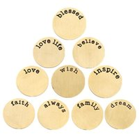 word charms - mm mm mm Gold L Stainless Steel Plates for Floating Charm Lockets word word