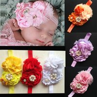 band rose buds - Luxury Infant Baby Head Band Rose Bud With Pearl Cute Kids Hair Accessories Colors CF374