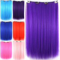auburn curtains - Hair extension Clip in Coloured cm quot Multicolor Hair curtain Synthetic Hairpiece For Women GIrl Cosplay Party Sexy Pop jf030