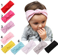 hair accessories - 9 Color Fashion Baby bowknot Headbands Girls Cute Bow Hair Band Infant Lovely bowknot Headwrap Children Bowknot Elastic Accessories B001