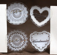 Wholesale FKT018 tranparent white lace flower heart love sealing sticker baking package cake box decoration cm