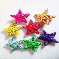 Wholesale 10cm Dried flower branch wicker color five pointed star cane kindergarten bazaar adornment pendant corridor home decoration