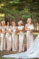 gold bridesmaid dresses - Sparkly Rose Gold Cheap Mermaid Bridesmaid Dresses Short Sleeve Sequins Backless Floor Length Beach Wedding Gown Light Gold Champagne