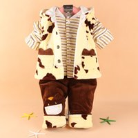 baby beetle clothing - Baby Set Winter Brand Suit Boy Flannel Thickening Keep Warm Baby Cartoon Beetle Three Piece Sets Cotton padded clothe