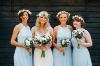 barn flooring - 2016 Pretty Pale Blue Summer Country Barn Long Bridesmaid Dresses A Line Halter Lace Appliques Zipper Back Pleats Floor Length Chiffon Cheap