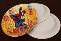 Wholesale 8 Styles Frozen Princess Mr Minions Spiderman Cars Paper Plates Children Kids Birthday Party Cake Plate Party Supply Xmas Gifts Free DHL