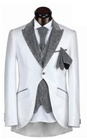 Cheap 2015 Hot Sale White Peaked Lapel One Button Classic Mens Suits Wedding Groom Tuxedos For Wedding (Jacket+Pants+Vest+Tie) #ST110523