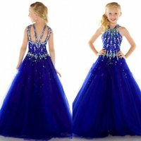 beauty blue - 2016 New Tulle Royal Blue Cheap Beauty Pageant Dresses for Girls Formal Long Sexy Girl Dress For Weddings Custom Size