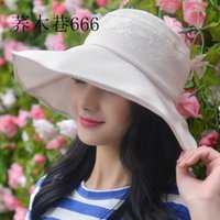 Wholesale summer cotton cap solid elegant female sunhat beach sunbonnet flower bow visor hats Summer Ladies Wide Brim Beach Hats Sexy Chapeau Large Fl
