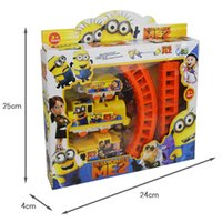 Wholesale Minions Figures Electric Train Track With Slot Cartoon Movie Kids Toys Children Christmas Gift S30284