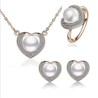 Wholesale Top Quality Pearl Heart Necklace Earrings Rings Sets Full Rhinestone Alloy Jewelry Women Fashion Pearl Jewelry Sets