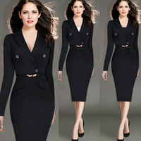 Bodycon Dresses america button - 2015 new winter fashion career women dress in Europe and America Hot blacksuit collar long sleeved solid color dress