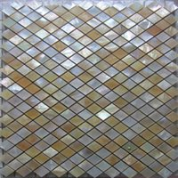 Wholesale Rhombus Yellow lip Shell Mosaic Tile on Mesh with Ceramic Tile Base backsplash bathroom tv backgroud wall
