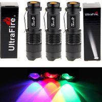 Cheap Ultrafire® 7w 300lm Cree Q5 LED 3-mode Mini Black Shell Portable Flashlight Torch Adjustable Focus Zoom Lamp (Red Green Uv Light)