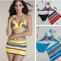 Cheap 2016 new Striped sexy Triangle Halter bottom Bandage bikini set three-piece bathing suit skirt women swimwear plus size swimsuit