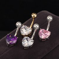 Wholesale Lovely Style Heart Shape Copper Gold Plated Zircon Navel Purple White Pink Navel Bar Body Jewellery