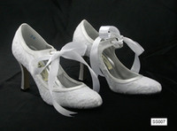 Wholesale 2015 New Arrival Mary Janes Lace up White Wedding Shoes In Stock White Ivory Lace Low Heels High Quality Lace CM Heel Bridal Boots