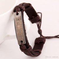 bible christianity - Fashion Cowhide leather bracelets cross Christianity Bible tag charm bangle cuffs unisex adjustable bands handmade diy punk jewelry