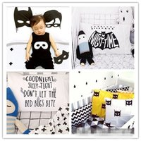 Wholesale INS Pillowcase White with Black Batman Letter Cat pattern Pillow Slip cm cm styles for choose Pillow Cover hot sale