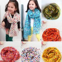 Wholesale Toddlers Kids Baby Girls Scarf Shawls Wrap Candy Color Voile Dots Scarves