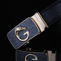 western belt wholesale - PU Leather Belts for men New Brands black and brown Good Quality designer belt metal dragon button belts western buckles