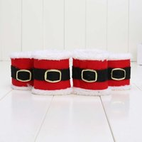 Wholesale 19X7CM Christmas Delicate Red Flannel Napkin Rings Holders Christmas Party Banquet Table Decoration New in opp bag