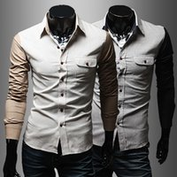 oxford shirts - 2015 New autumn and winter personality color block decoration Oxford silk cloth male slim fashion long sleeve shirt p35