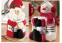 beer bottle decorations - Christmas Bottle holders Santa Snowman Wine Beer Bottle Towel Holders decor quot inches Christmas decorations