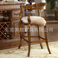 bar stools wholesale - American country American furniture chair cloth bar chair of high end villa luxury European style wooden bar stool