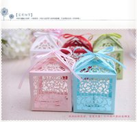 Wholesale New Arrival Hot pack New Cut Love Heart Laser Gift Candy Boxes Elegant Wedding Party Favor box With Ribbon white red blue pink