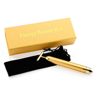 Wholesale 24K Gold Energy Beauty Bar Rod Thin Face Vibration Massage Stick Facial Roller Plus Firming Electronics Massager Health Boby Care