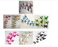 Wholesale 3D Butterfly Wall Stickers Decor Art Decorations Green Yellow Blue Pink