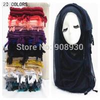 Wholesale Fringes Plain Hijabs Women Solid Shawl Wrap Large Head Scarf Islamic Ladies Nice Tassels Design