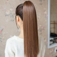 Wholesale New Colors Heat Resistance Long Straight Women s Synthetic Claw Clip In On Ponytail Hair Exetention L04156